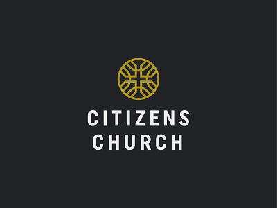 Citizens Church religion symbol mark icon logo house cross church citizens