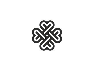 Clover plant symbol mark icon logo heart leaves four flower clover