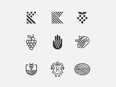 Vineyard Maintenance Logos food symbol mark icon logo grape fruit care crest shield hand vineyard wine vine