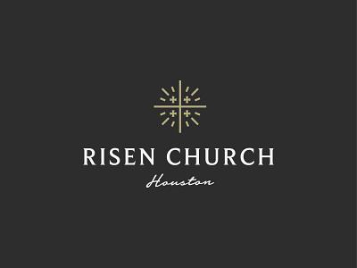 Risen Church risen faith jerusalem cross symbol mark icon logo church