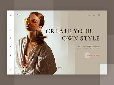 Website concept for a clothing shop clean shop website webdesign web ui figma design concept