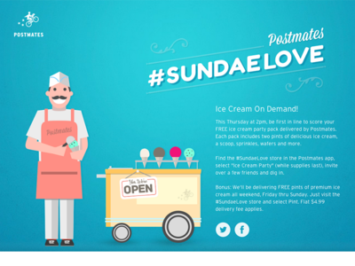 Sundae Love marketing promo illustration microsite
