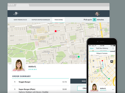 Postmates delivery tracking page map ux ui webapp ios tracking
