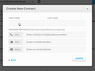 Create Contact contact edit modal