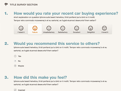 Mock for a survey site survey selector radio check
