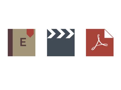 flat icons icon icons pdf video encyclopedia