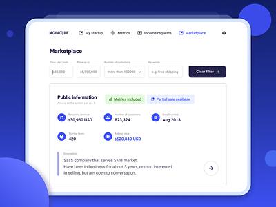 MicroAcquire Dashboard dashboard website product design web