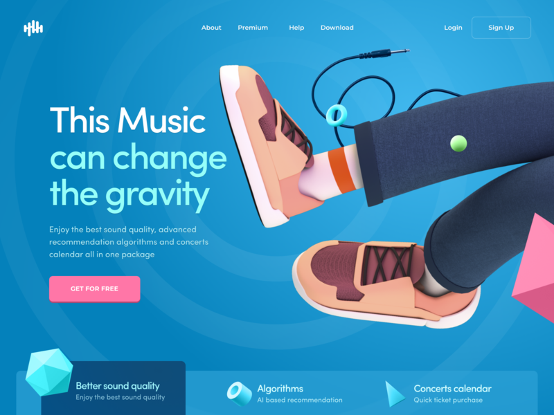Website for a Music Streaming Provider music geometric bright colors homepage website design web character 3d model zajno 3d character cinema4d c4d 3d