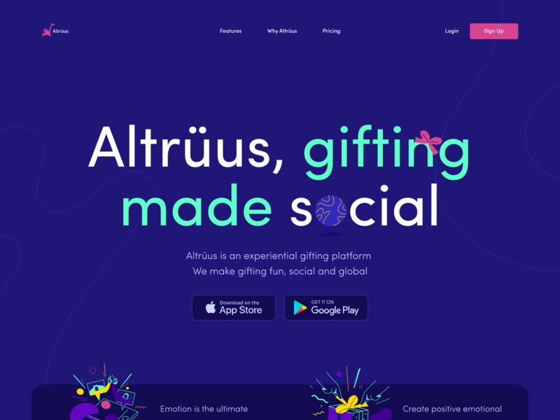 Website for Altrüus on Awwwards vibrant emotion emotional social promo website landing page awwwards homepage zajno bright colors product gift present website design web