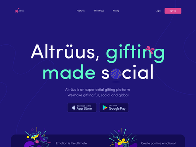 Website for Altrüus on Awwwards vibrant emotion emotional social promo website landing page awwwards homepage zajno bright colors product gift present website design web