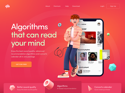 Website for a Music Streaming Provider slider music geometric bright colors homepage website design web character 3d model zajno 3d character cinema4d c4d 3d