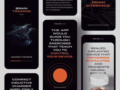 Mobile Landing Page Inspired by Neuralink minimalist minimal bright colours contrast future futuristic innovative brutal bold innovation mobile website neuralink technology mobile zajno