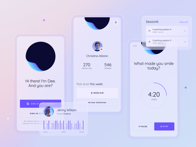 Mobile App for a Maslo-Powered Product behavior mental state psychological psychology companion wellbeing therapist emotional health self-awareness self-care empathy technology glass ai product application app design mobile zajno