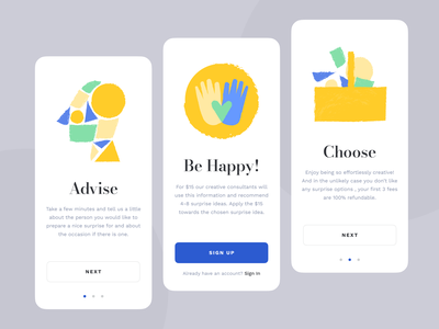 Mobile App for Nice Surprises kind happy empathy human service illustration bright dark present emotions emotional gift surprise clean vibrant social design mobile zajno