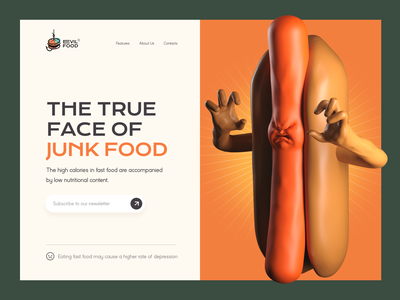 See the true face of junk food 🌭 healthcare health informational web design website 3d illustration 3d hot dog junk food fast food character design inspiration character illustration zajno