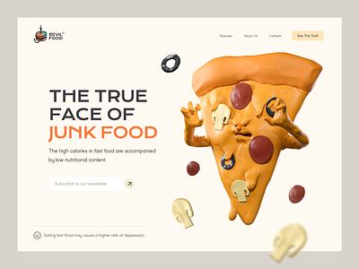 See the true face of junk food 🍕 healthcare health informational web design website 3d illustration 3d pizza junk food fast food character design inspiration character illustration zajno
