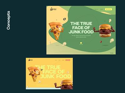 See the true face of junk food 🍔 🍕 🌭 hot dog pizza healthcare health informational web design website 3d illustration 3d burger junk food fast food character design inspiration character illustration zajno