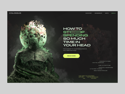 How to Stop Getting Stuck In Your Head c4d cinema4d 3d textures dark alive stuck mental health here and now life informational design website layout zajno