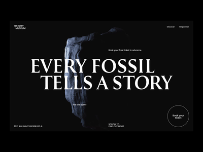 Every Fossil Tells A Story education science fossil history museum bold animation slick smooth cinema 4d c4d 3d model 3d web design zajno motion design