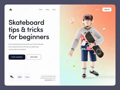 Skateboard tips & tricks web design tricks tutorial illustration skateboard sport 3d landing website zajno