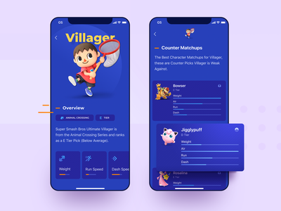 Mobile App Design for Crossover Fighting Game minimal creative flat experiment blue vivid bright colors vibrant mobile app design video games super smash bros. ultimate gamer play fighting game crossover nintendo character zajno ux ui