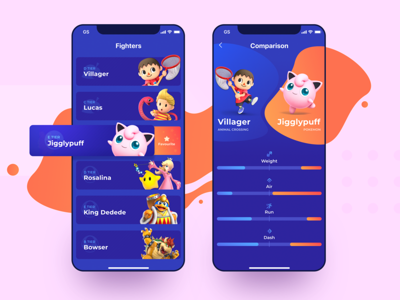 Mobile App Design for Crossover Fighting Game profile experiment mobile interface game application vivid bright colors vibrant mobile app design video games gamer play fighting game crossover nintendo character zajno ux ui