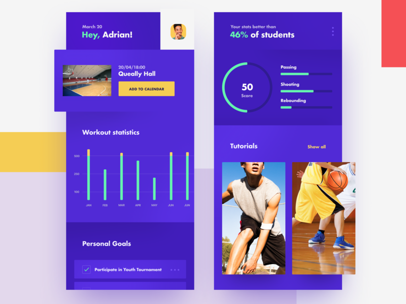Basketball School Platform: Mobile Dashboard Design management sport school platform goals plans schedule communication feedback graphics graph mobile data visualization statistics progress stats dashboard student profile application interface mobile app design zajno ui ux