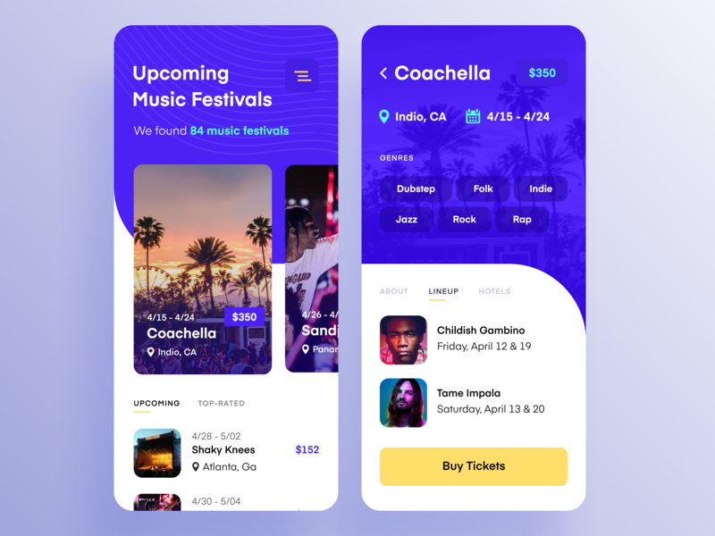 Mobile App for Hunting Music Festivals service festival music bright colors whitespace minimalist simple clean technology planning search mobile data visualization application interface mobile app design zajno ux ui