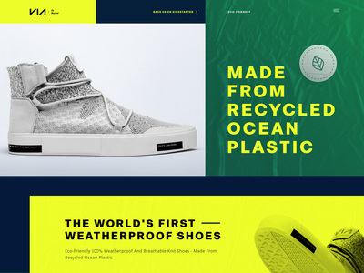 Promo Website for Eco-Friendly Shoes progressive green innovative experiment environment recycle grid whitespace utilization neat composition layout bright colors experience product ui ux data visualization startup experimental promo website web design zajno
