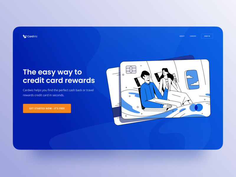 Travel Reward Credit Card Service Website hero shot homepage website happy customer bank finance credit card travel illustrated emotion vector clean simple minimal drawing flat art character web design inspiration illustration zajno