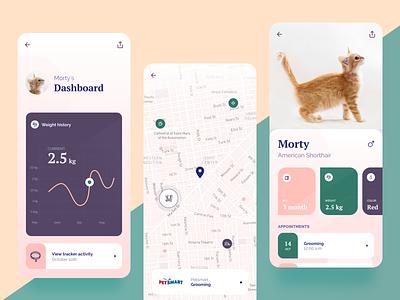 Mobile App for Pet Owners pet cat map diagram dashboard mobile app mobile app application