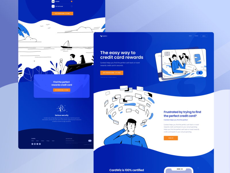 Travel Reward Credit Card Service Website characte blue homepage website finance bank credit card travel vector clean simple minimal drawing flat art character web design inspiration illustration zajno