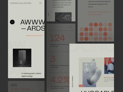 Mobile Website for Finding Design Contests and Awards mobile zajno