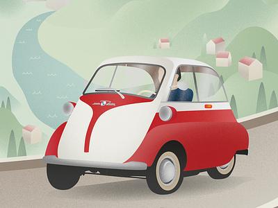 Classic car countryside vintage car oldtimer classic car vector illustration