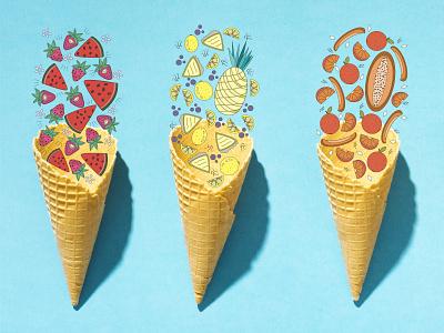 Fruit icecream illustration design painting 2d art illustration vector