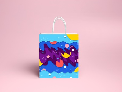 Illustration for paper bag figma 2d art design vector illustration