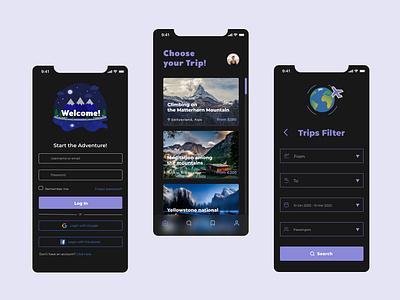 Travel App travel app travel flat ui app