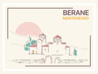 Berane montenegro illustrator lineart monastery church building vector