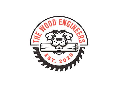 The Wood Engineers branding character vector logo saw blade wood trunk tree beaver log
