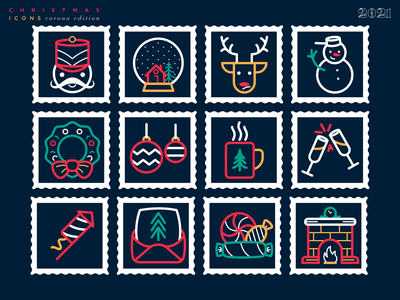 Free Christmas/New Year Icons ui vector candy mail fireworks new year santa free icons christmas linear icons