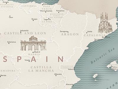 Spain Map building linear illustration vector map spain