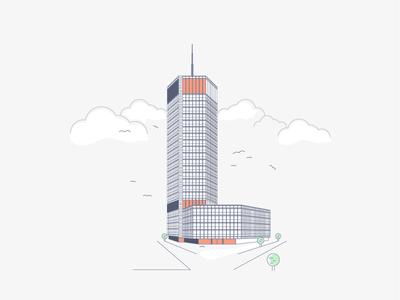 01 Iconic Buildings of Belgrade. Beogradjanka downotown city clouds skyscraper serbia beograd belgrade icon line building
