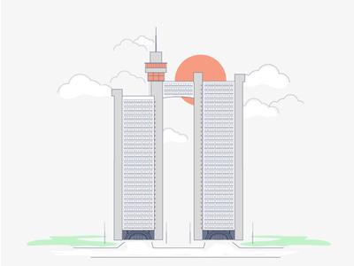 04 Iconic Buildings of Belgrade, Genex downotown tower city clouds skyscraper serbia beograd belgrade icon line building