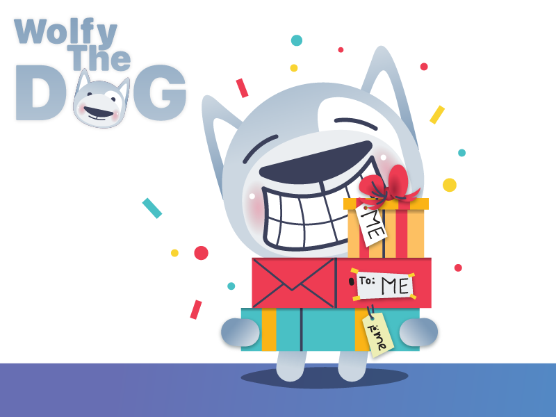 Birthday sticker wolfy the dog by cvijovic zarko dribbble