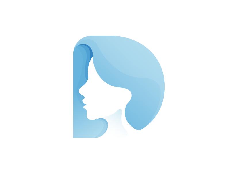 D for Dermatlogy type logo portrait female face hair dermatology d