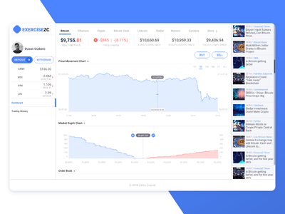 Cryptocurrency Trader - Dashboard chart bank app trading market statistic financial finance exchange cryptocurrency dashboard
