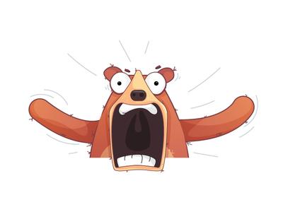 Football fan reactions animal sticker imessage screaming vector illustration fan reaction character bear
