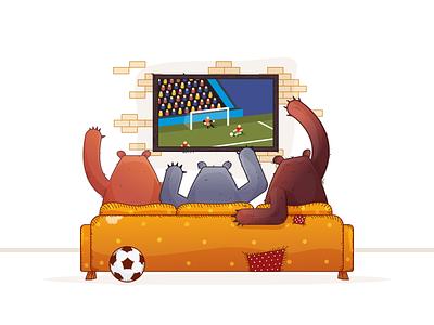 Watching Game - Having Fun vector illustration world cup sport bear ball watching game tv game football