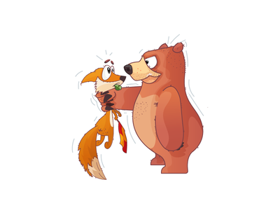 Referee Issues vector illustration world cup sport bear fox fight referee game football