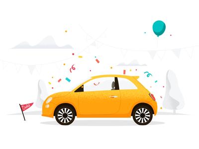 Sold celebration illustration sold car